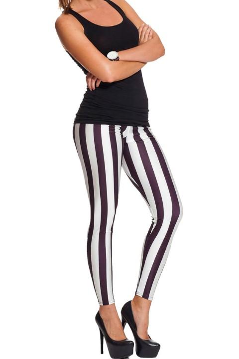 blokken & strepen print legging, geblokt wit/zwart