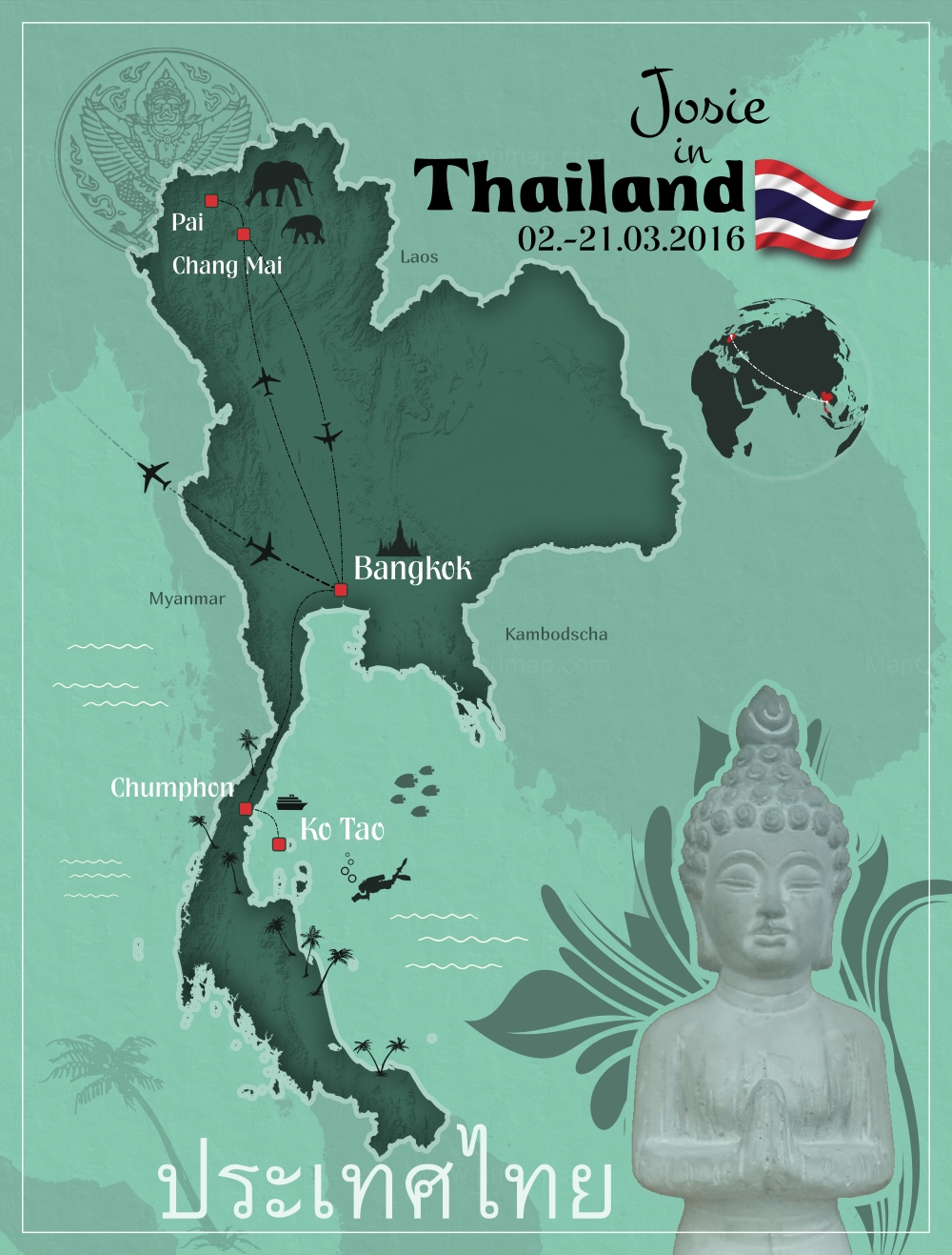 Thailand von Nord nach Süd