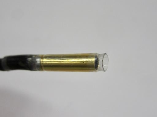 メスのシュリンクチューブは淵より2~3ミリ長く。