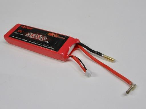 バッテリーコードとコネクターの状況。 Li-Po3300mAh-3セル コネクターは4mm先割れタイプ。