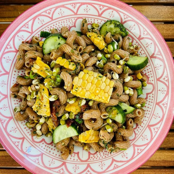 Vollkorn Pasta Salat mit Mais - Whole Grain Pasta Salad with Corn