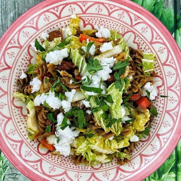 Dinkel Spirelli mit Chinakohl und Veganer Chorizo - Spelt Spirelli with Chinese cabbage and vegan chorizo