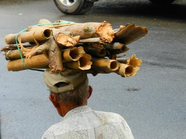 Kopflast - Transport von Brennholz in Ubud