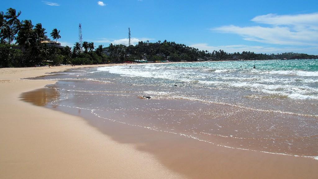 Der  Strand von Mirissa lädt zum chillen ein