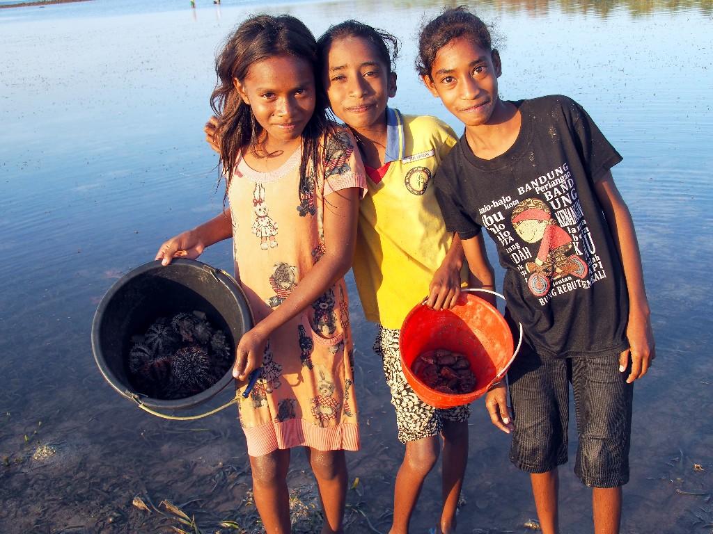 Alle helfen mit - Auch Kinder suchen Krebse, Seeigel und anderes Meeresgetier.
