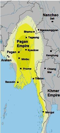 Königreich Bagan um 1210: Kernzone in dunkelgelb, abhängige Gebiete in hellgelb