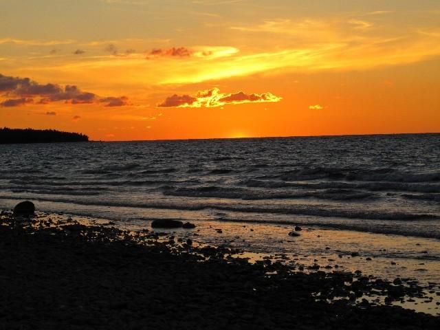 Sonnenuntergang - Blick von Mackinaw City auf den Lake Michigan