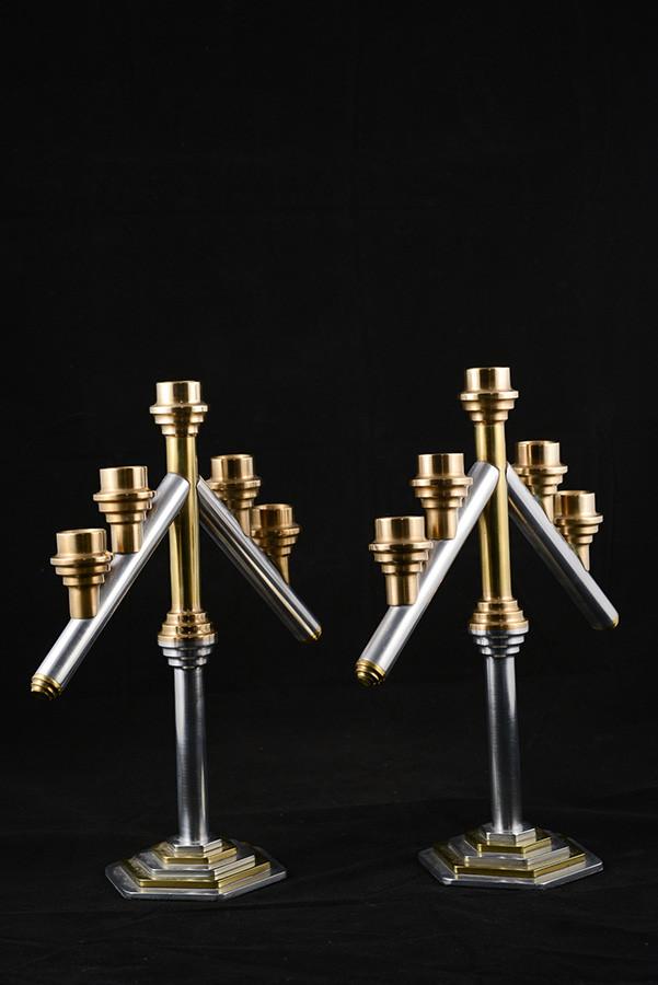 """Candlestick holder, 12"""" height x 10"""" width, aluminium and brass, 2006."""