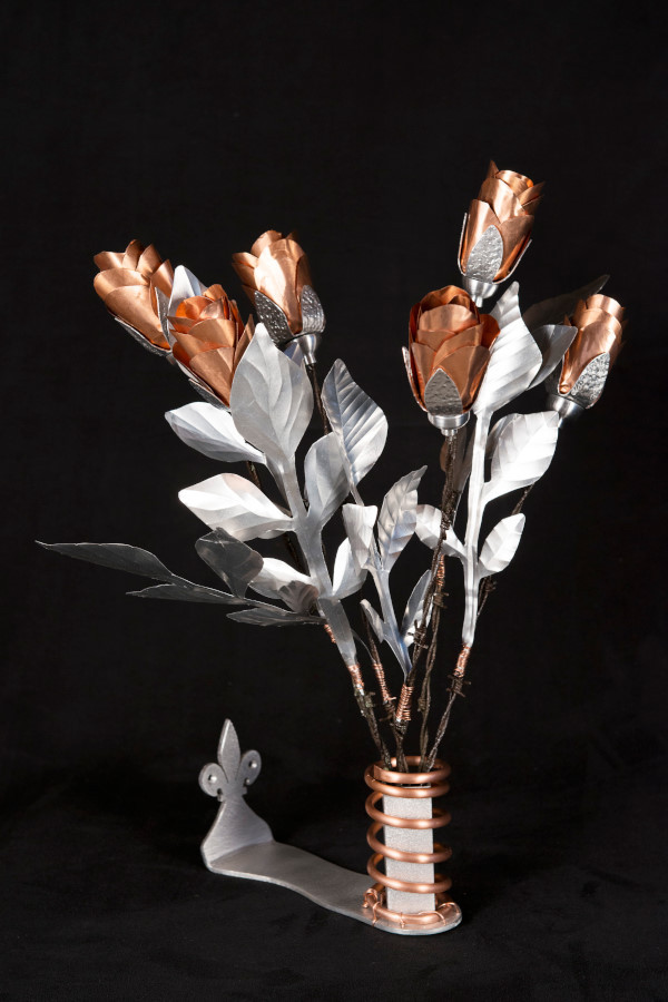 "Bouquet of roses 16""x 12"", aluminium, 2015"