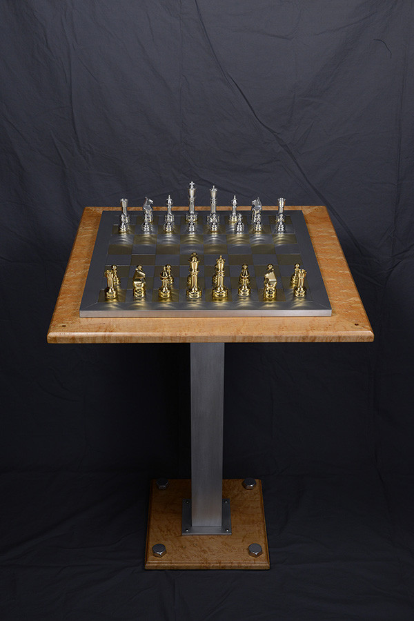 "Chess game with table, chess game 18""x 18""x 6"" height, aluminium brass, table made with birdseye maple: 24""x 24""x 31"", 2009."