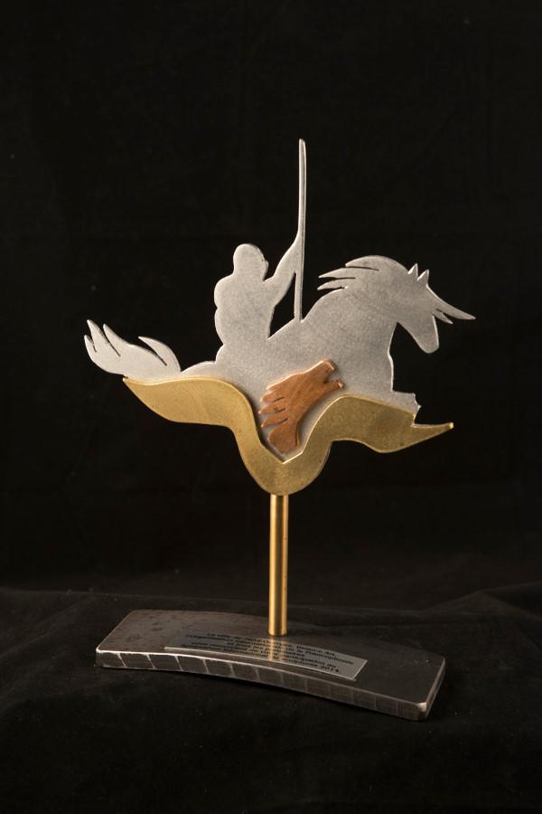 Trophy  Beauce art, 9'' H x 6'' L,  aluminium, brass, 2015