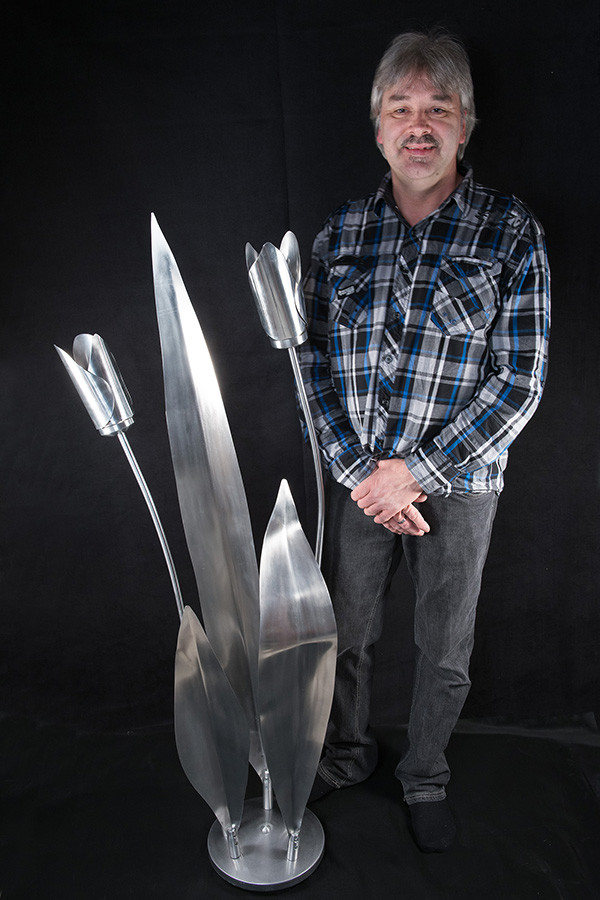 "Artist with The Immortals 60""x 24"", aluminium, 2015."
