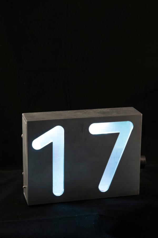 Numéro civique, 6'' haut x 2'' large, aluminium et del, 2016. À partir de $180.00