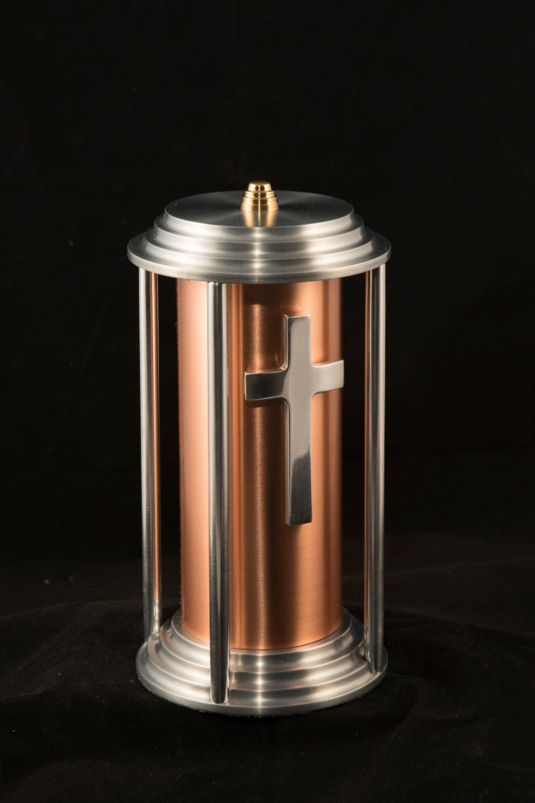 Funeral urne, 10'' H x 6'' Dia. copper aluminium, 2010
