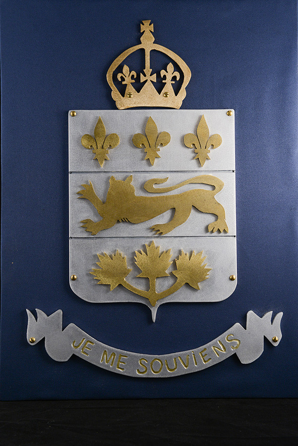 "Quebec Coat of Arms, 18"" x 24, aluminium brass, 2011."