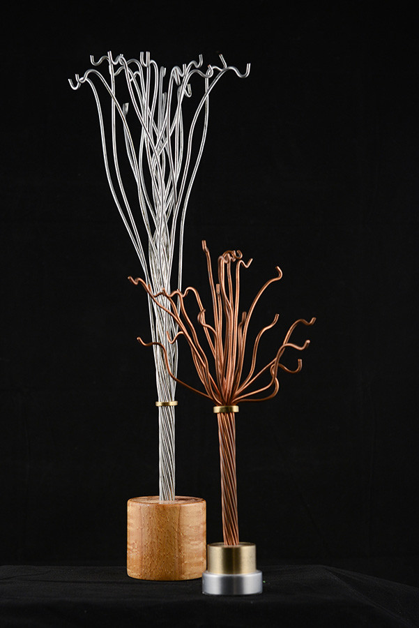 "Tree for jewels, between 6"" and 13"" height, aluminum, brass and wood, 2009."