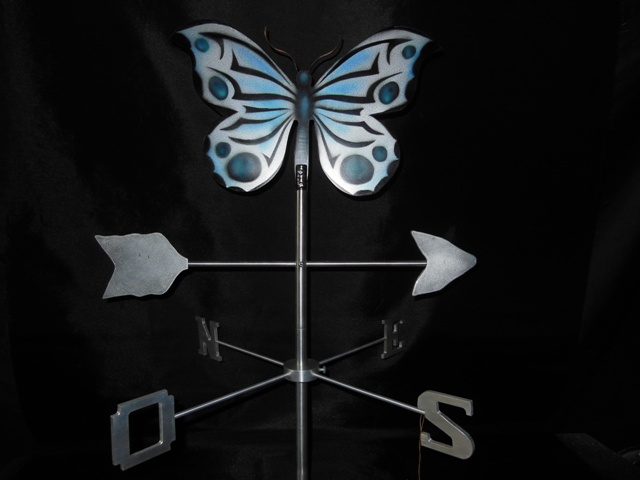 "Butterfly Weathervane, 30"" height x 24"" x 24"", aluminium, 2008."
