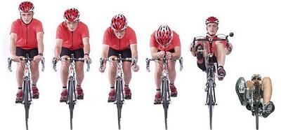リカンベンとロードバイクと前面投影面積の違い。右端は競技向けリカンベント、右から二番目はツーリング向けリカンベント