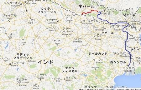 (青線がカトマンズから国境まで今回走ったルート)