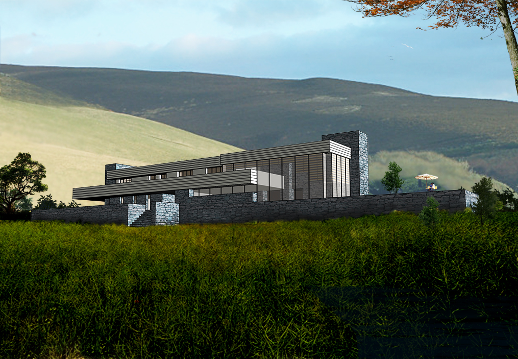 A linear design on an elevated site with views of the hills in the Isle of Man.