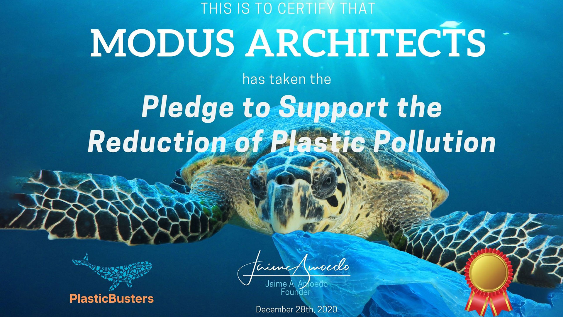 Proud to support PlasticBusters Pledge to reduce plastic pollution
