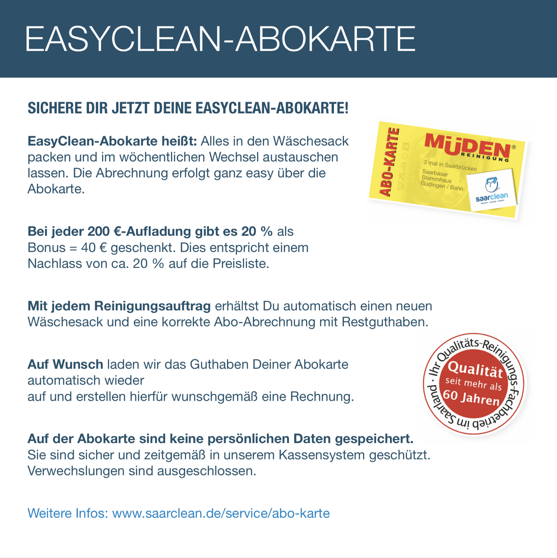 saarclean Lieferservice - Wir schenken dir Zeit # 3 EasyClean Abokarte