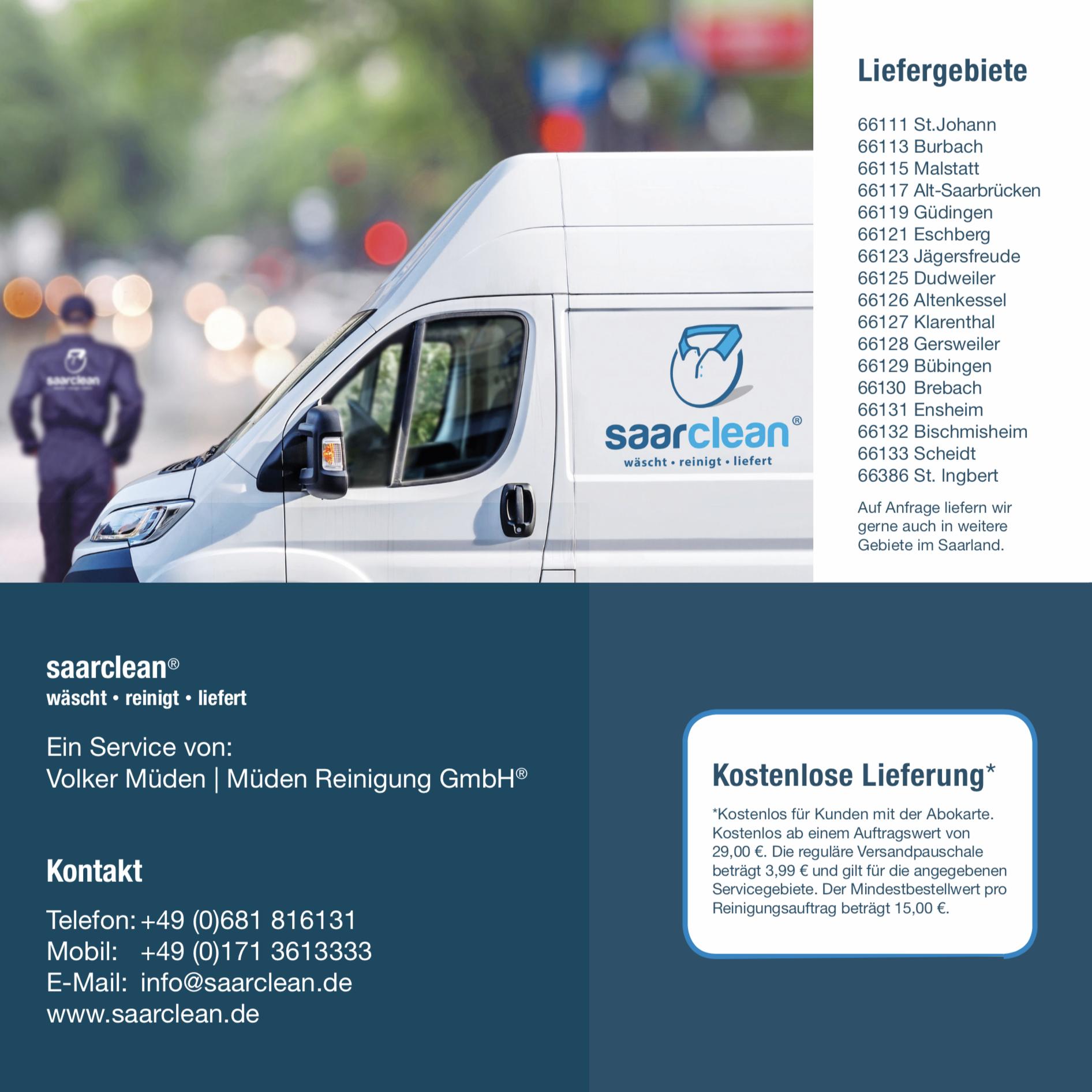 saarclean Lieferservice - Wir schenken dir Zeit # 5 Kontakt und Liefergebiet