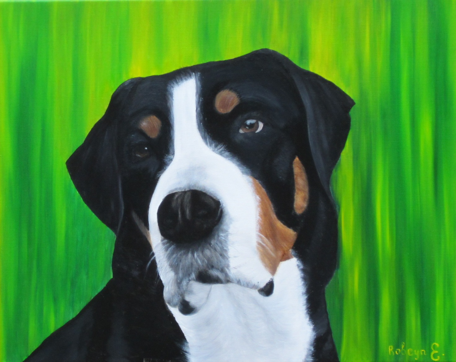 """Great Swiss Mountain Dog named Diva"" - oil, canvas 50х40, 2017, Private collection"