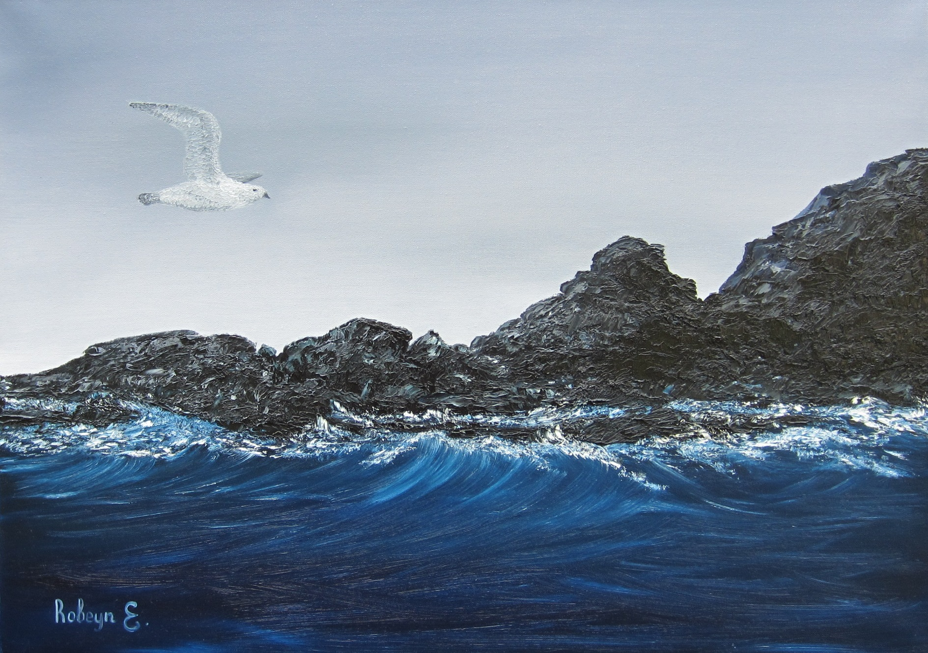 """""""Flying seagull"""" - oil in pasty technique, canvas 50x70, 2016"""