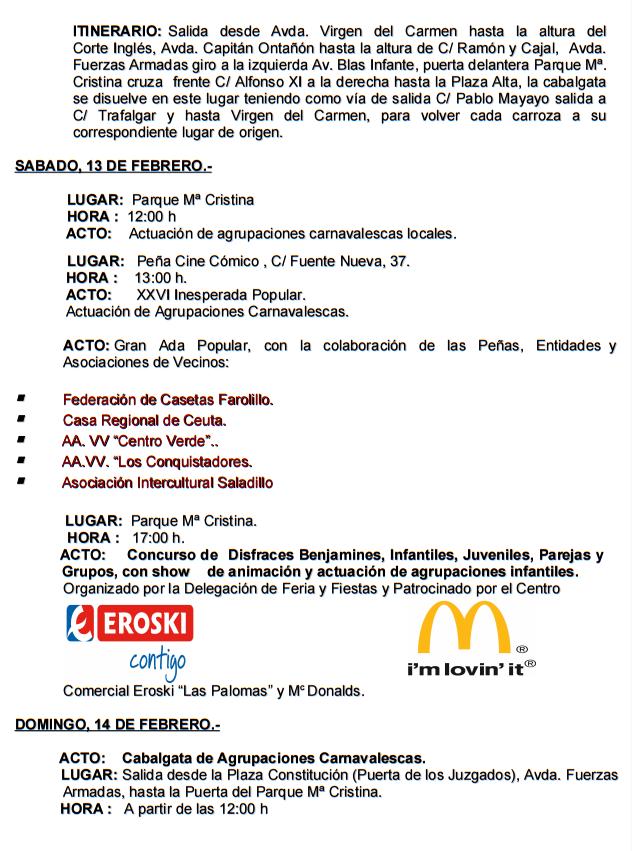 Programa del Carnaval de Algeciras 2016