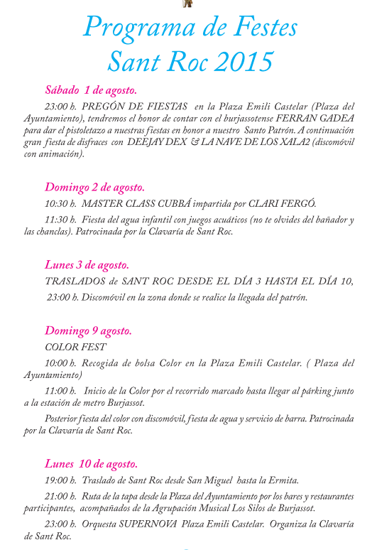 Fiestas de San Roque en Burjassot 2015 Programa