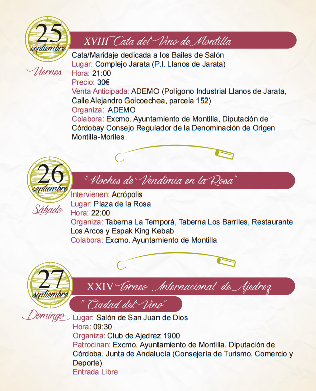 Programa de la Fiesta de la Vendimia 2015 en Montilla