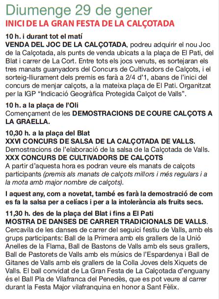 Programa de la Festa de la Calçotada de Valls