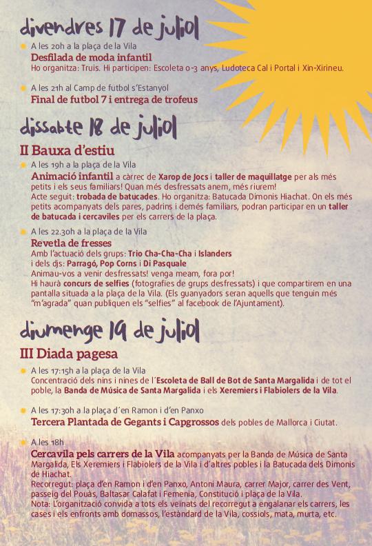 Programa de les Festes de Santa Margalida 2015