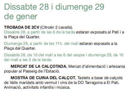 Festa de la Calçotada de Valls Programa
