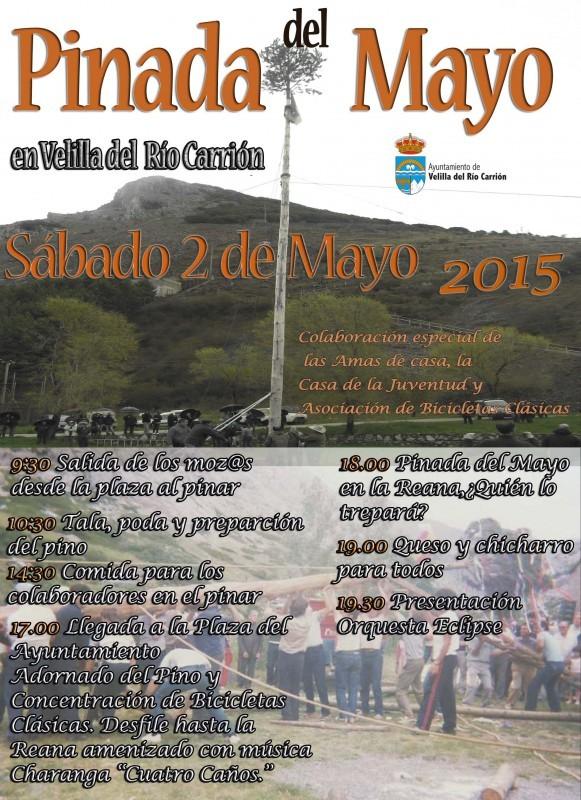 Cartel y programa de la Pinada del Mayo 2015 en Velilla del Río Carrión