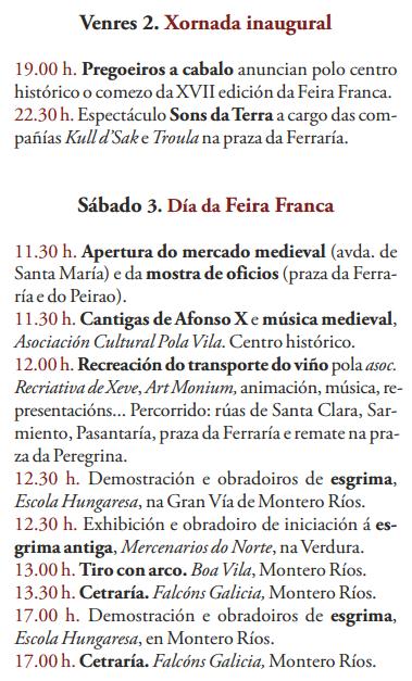 Programa de la Feira Franca de Pontevedra 2016