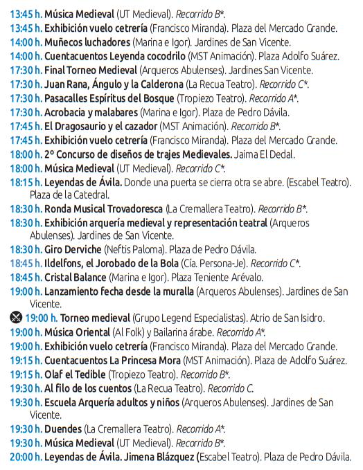 Programa de las Jornadas Medievales de Ávila El Mercado de las Tres Culturas