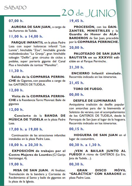 Fiestas de San Juan en Tudela 2015 Programa