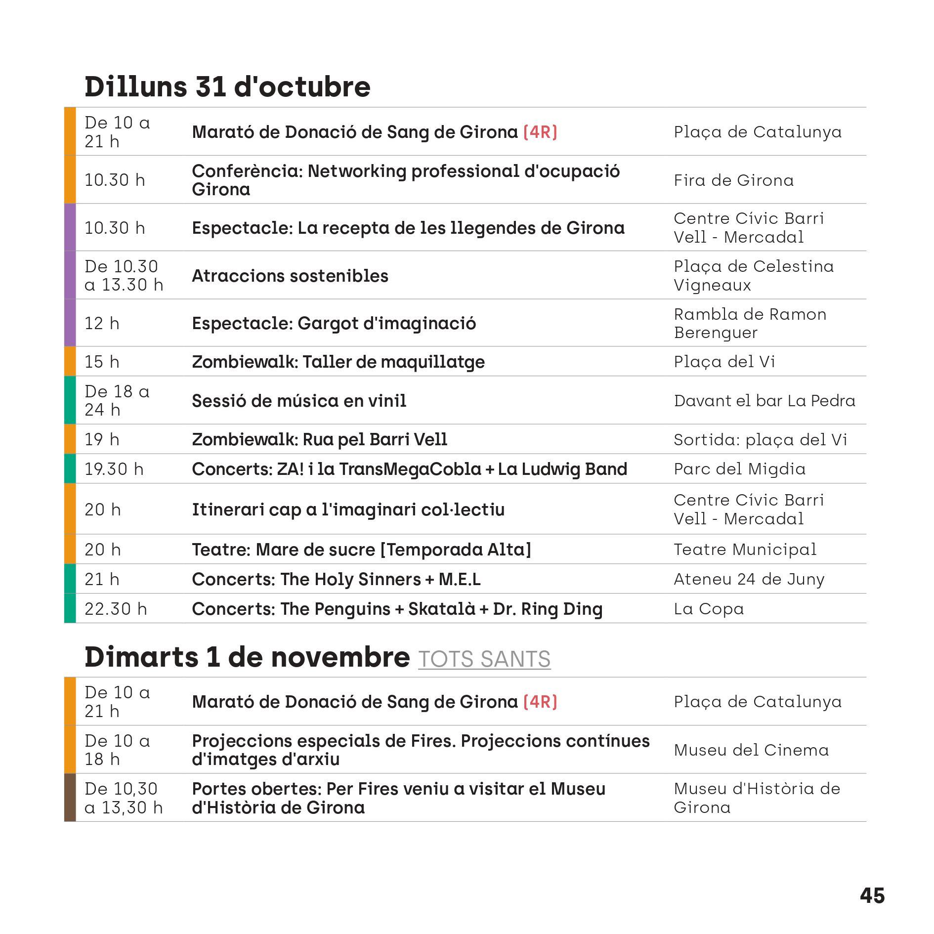 Programa Fires de Sant Narcís en Girona