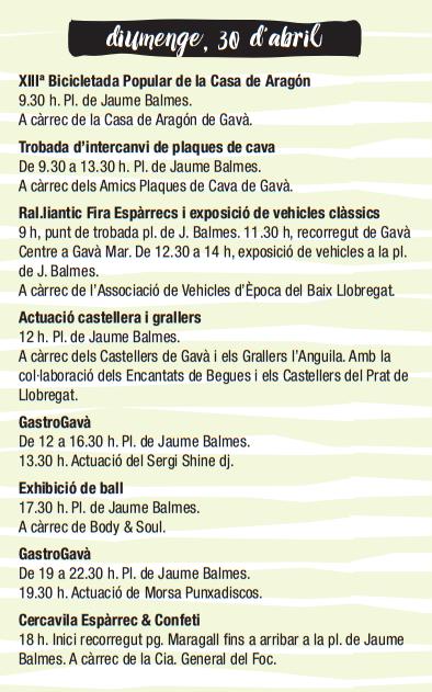 Programa de la Fira d'Espàrrecs de Gavà