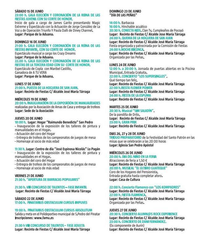 Programa de la Feria y Fiestas de San Pedro del Pinatar