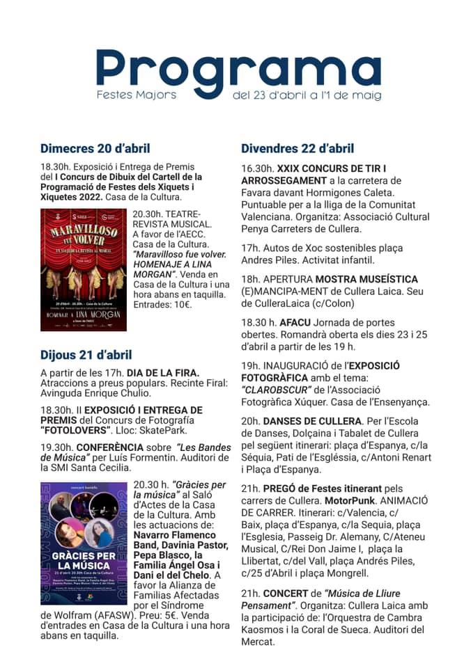 Programa de les Festes Majors de Cullera