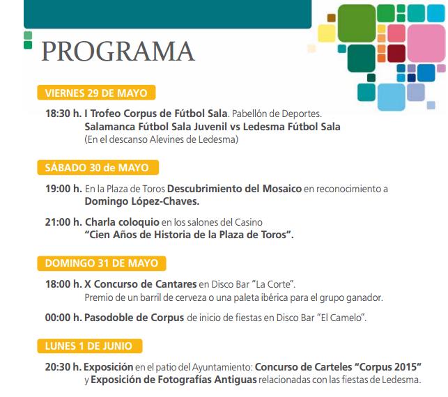 Programa de las Fiestas del Corpus de Ledesma 2015