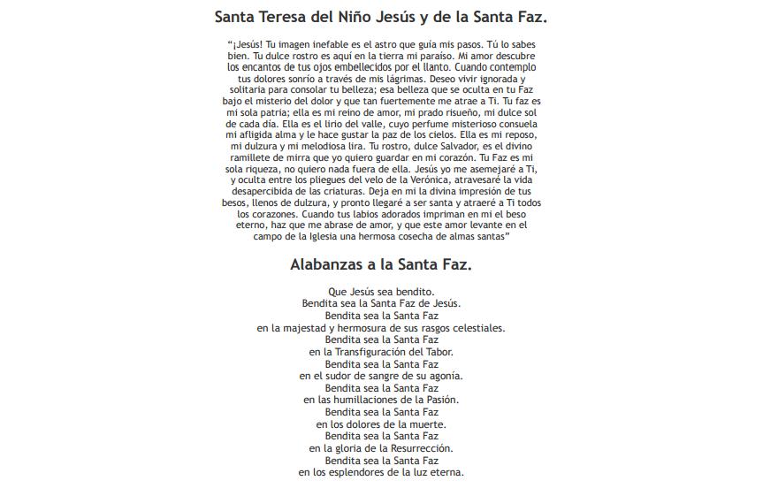 Oraciones a la Santa Faz