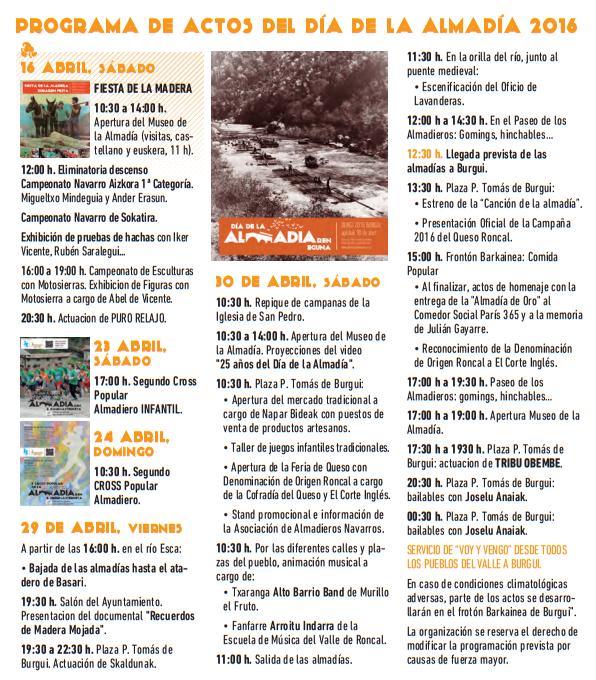 Programa del Día de la Almadía en Burgi 2016