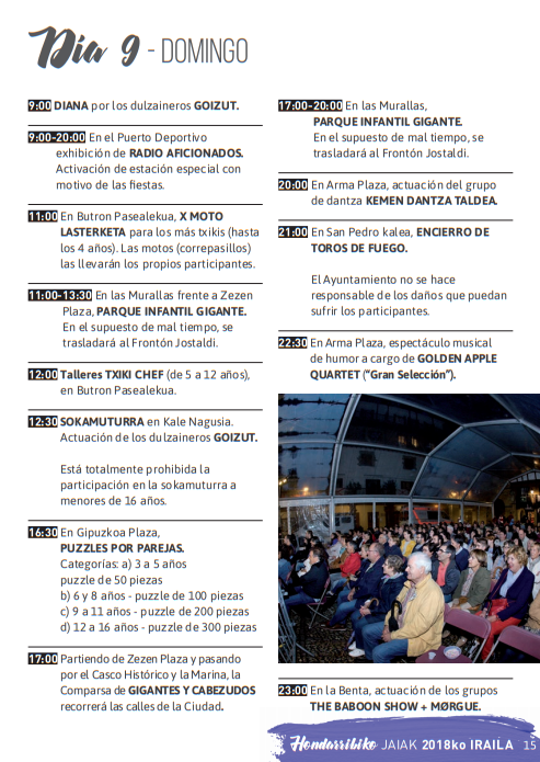 Fiestas de Hondarribia 2015 Hondarribiko Jaiak Programa
