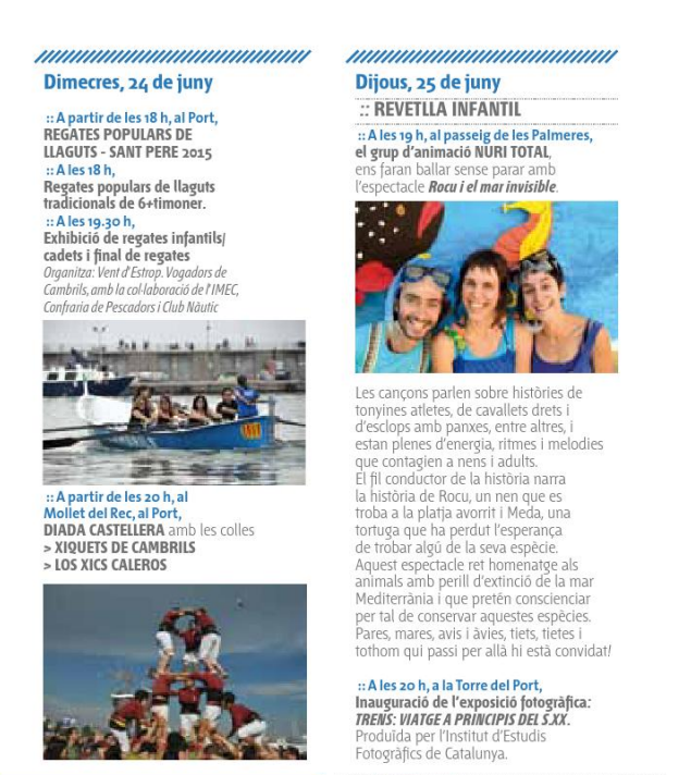 Programa de la Festa Major de Sant Pere en Cambrils 2015