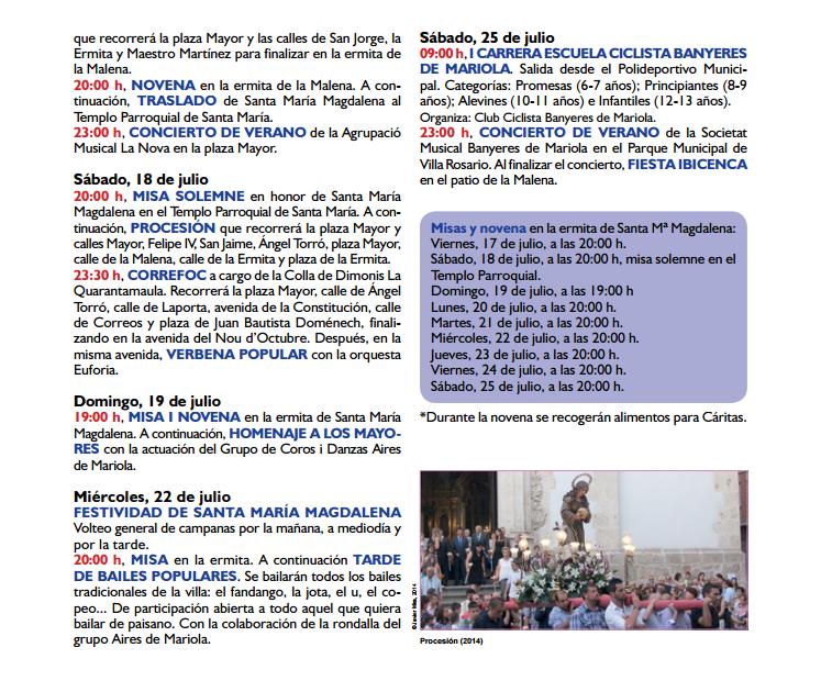 Programa de las Fiestas de La Malena en Banyeres de Mariola, Santa María Magdalena