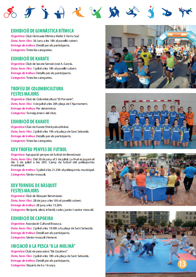 Actividades deportivas Festes Majors Benetússer 2015